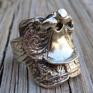 Vintage Jewelry - Vintage 925 BIG Western Saddle Ring